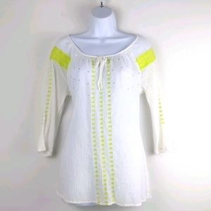 Old Navy- White w/green embroidered swim cover up